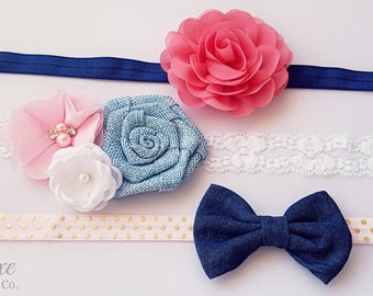 DIY Headband Kit - LIMITED EDITION - Makes 3 headbands! Pink, White, Blue, Navy, Coral Baby Headbands - Wholesale Crafting Supplies