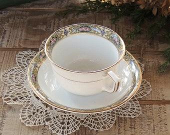 Homer Laughlin Vandermere Tea Cup and Saucer Set, Rose Medallion Plates Tea Party, Weddings, Ca. 1927
