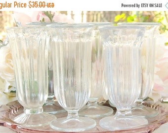 On Sale Mid Century Parfait Glasses Set of 6, Barware Glasses, Vintage Glassware, Ice Cream Social, Stemware