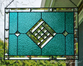 Stained Glass  Panel, Custom Bevel, Blue  English Muffle accent