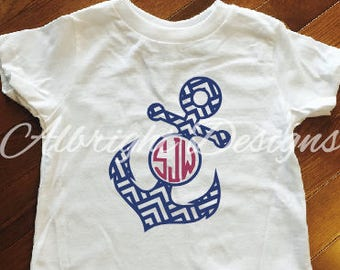 Toddler Anchor Shirt, Summer shirt, Anchor monogram shirt, Chevron Anchor Shirt, Kids Cruise Shirt, Toddler Cruise Shirt, Vacation Shirt