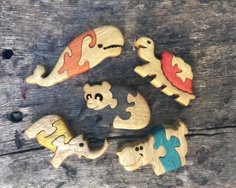 Gift for kids, Wooden toys, Animal games, Wooden puzzles, set of 5, Baby puzzles, jigsaw puzzle, handmade, wood puzzle, wood toy, set #3.
