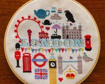 London Cross Stitch Pattern - Digital PDF Pattern - England Travel Cross Stitch