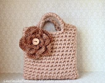 CROCHET PATTERNS for kids, girls flower purse bag pattern - Listing81