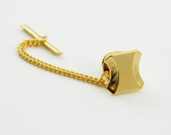 Vintage Gold Bar Lapel Pin with Chain -  003 - Vintage Tie Tack
