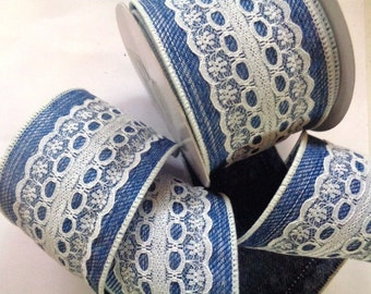 "Wired Denim Lace Ribbon, Blue / White, 2 1/2"" inch wide, 1 yard, For Home Decor, Gift Baskets, Victorian & Romantic Crafts"