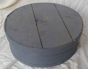 Vintage wood cheese box , pine wood box ,painted cheese box , wood storage box