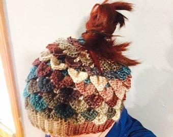 Crochet Dragon Messy Bun Hat to Match Dragon Gloves - Crocodile Stitch Hat - Messy Bun Hat