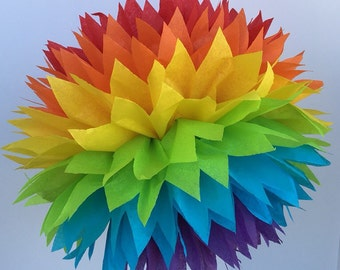 Rainbow Tissue Paper Pom Poms --Party or Home Decorations, Business Decorations