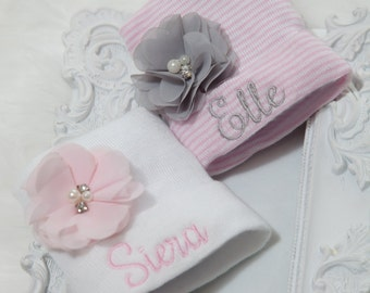 Newborn Hospital Hat Personalized Newborn Baby Girl Hospital Hat with Chiffon
