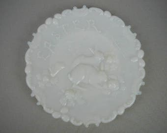 "Antique or Vintage ""Easter"" Plate, Milk Glass Plate, Cabinet Plate, Wall Hanging Plate, With Rabbits in the Cabbage Patch"