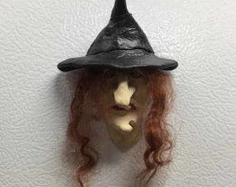 WITCH/GOBLIN MAGNETS - Hand sculpted magnets to hold important things on your refrigerator. MA3