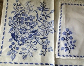 Linen Table Runner Placemat Set Hand Embroidered Blue Floral Pattern