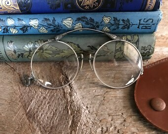 Wire Rim Glasses, Antique Pince Nez Eye Glasses with Leather Case, Ornate Gothic Folding Glasses, Spectacles, Props