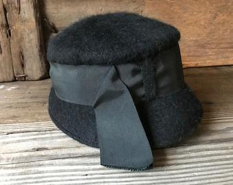 Cloche Hat Black Felt, Grosgrain Ribbon and Bow