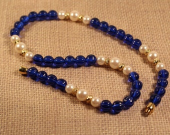Avon Raj Beaded Necklace with Sapphire Color Beads - Vintage 1986