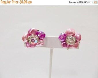 On Sale Vintage Pink, Purple and Aurora Borealis Cluster Earrings Item K # 1276