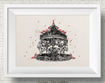 Carousel The Night Circus Watercolor Painting Art Print Wedding Gift Wall Decor Nursery Art Wall Hanging Erin Morgenstern