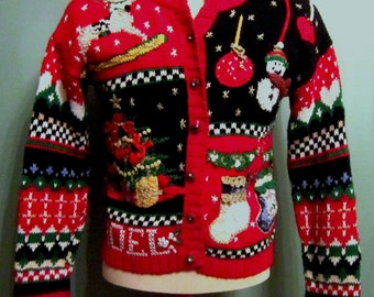 Ugly Christmas Sweater Heirloom Collectibles Small Petite Cute Novelty Red Embellished Noel Cardigan Tree Stockings Glitter Gaudy Party Fun