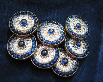 7 Vintage Lovely Jewelled Buttons c.1900-30.