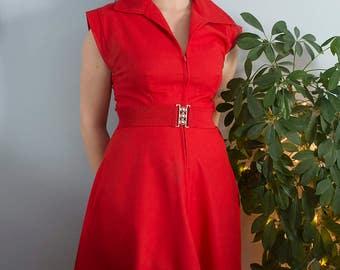 Cherry Red 1950s Swing Dress
