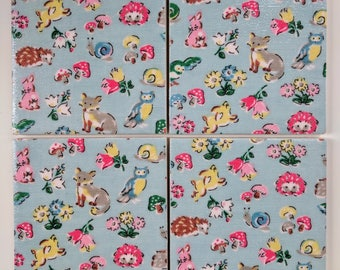 2, 4 or 6 Ceramic Coasters in Cath Kidston Forest Friends