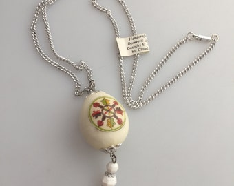 Genuine Domestic QUAIL EGG Pendant Necklace Transfer Designs Two Sides Handcrafted in the USA by Dorothy E. Chenoweth Vintage Necklace