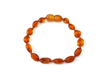 Baltic Amber Bracelet Teething Child Toddler Baby - Polished Beans Honey