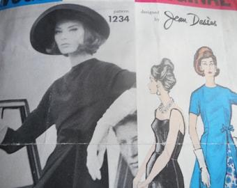 Vintage 1960's Vogue 1234 Paris Original Jean Desses Dress and Underdress Sewing Pattern, Size 16 Bust 36