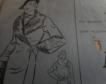 RARE Vintage 1930's Advance 1215 Coat Sewing Pattern, Size Bust 44