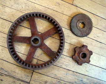 1950's Industrial Cog Gear Sprocket Salvaged Grouping, Industrial, Machine, Age, Parts, Salvage, Repurpose, Wall Decor, Restoration