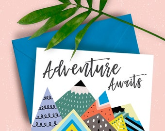 Adventure Awaits Mountains A5 greeting card