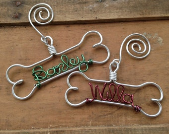 Personalized Dog Ornament - Dog Lover Gifts, Gifts for Pets, Handcrafted Wire Bone with Pet's Name, Unique Modern Dog Christmas Holiday Gift