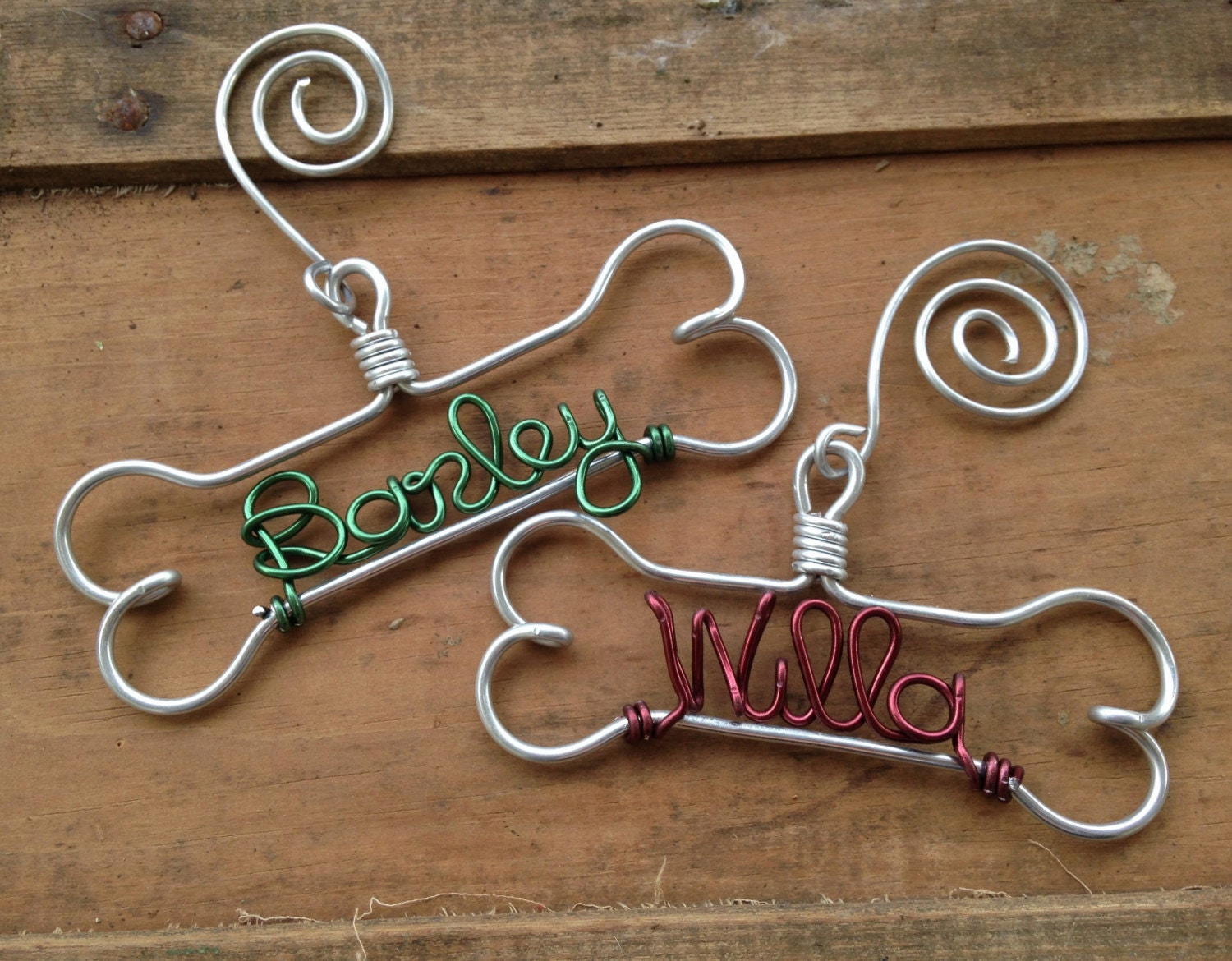 Personalized cat christmas ornaments - Personalized Pet Ornament Handcrafted Wire Dog Bone With Pet S Name Dog Christmas Gift
