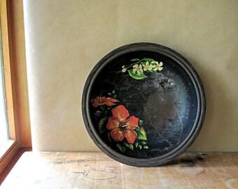 Vintage Metal Bowl, Black Painted Bowl, Florida Bowl, Boho Decor, Floral Bowl, Flea Market Style, Patio Bowl, Vintage Bowl, Florida State