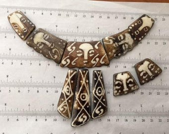 10pcs set-carved wood beige brown beads, hand painted side drilled, African beads, native beads, necklace earrings beads