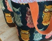 XL Owl Tote with Waxed Denim Bottom, Owl  Tote, Tote with Vintage Webbing handles, Tote PRE-ORDER