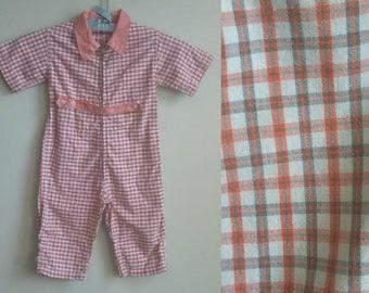 1950's Kiddie Kruise Jumpsuit - Vintage Plaid Toddler One Piece - Zip Front - Peachy Playsuit
