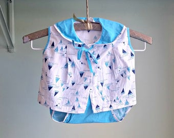 1950s Sail Away With Me Two Piece Summer Set - Sail Boat Printed Set - 12 Months