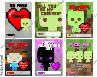 printable minecraft inspired valentine cards printable valentines day cards valentines kids classroom cards