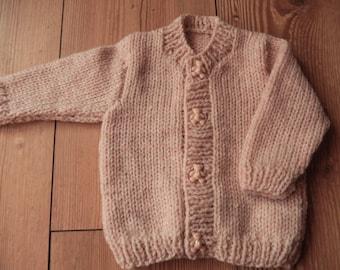 hand knitted baby cardigan, hand knit baby boy sweater light beige and cream mix newborn