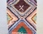 "FEAST and SPECTACLE in PHUKET 4'9"" x 2'11""  Boucherouite Beni Ourain Azilal Runner Rug. Moroccan Berber. Mid Century Modern. M74"