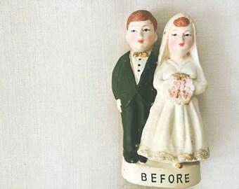 Vintage Bride & Groom Chalkware Bank - wedding gift - kitsch - retro - nostalgia funny chalk ware - knick knack - figurine - hipster - junk