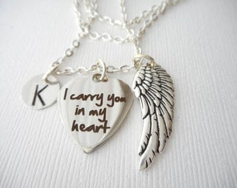 I Carry You In My Heart, Angel Wing- Initial Necklace/ Initial charm, custom gift, remembrance, mother, aunt, uncle, cousin, brother, friend