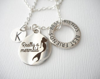 Really a Mermaid, Best Friends -Initial Necklace/ Friend Necklace, best friend jewelry, friendship necklace, going away, daughter