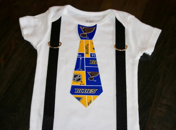 St Louis Blues Tie and Suspenders esie or Toddler Shirt