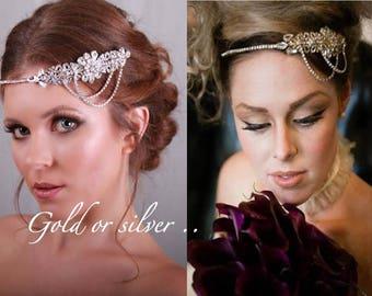 Bridal headband - 1920s headpiece -Flapper Headpiece - Gatsby head piece -1920s Art deco style flapper -headpiece - Wedding Headband