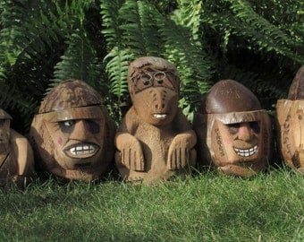 Troop of Monkeys - Set of Five (5) Handmade Coconut Monkey Clan - Tribe - Gang - Kitschy Vintage Man Cave - Yard - Garden - Tiki Bar Decor