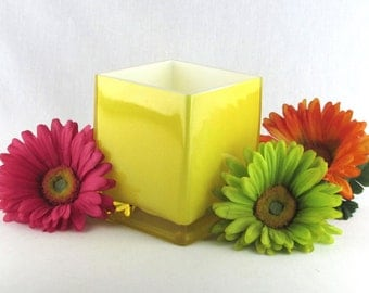 Happy Sunshiny Yellow Glass Container - Vase - Candle Holder - Colorful Box - Cheerful Good Fortune - Feng Shui Planter - Vintage Home Decor