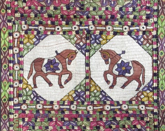 Pracing Horses Tapestry - FLAG - Wall Hanging - Hand Stiched - Mirrored Circle Accents